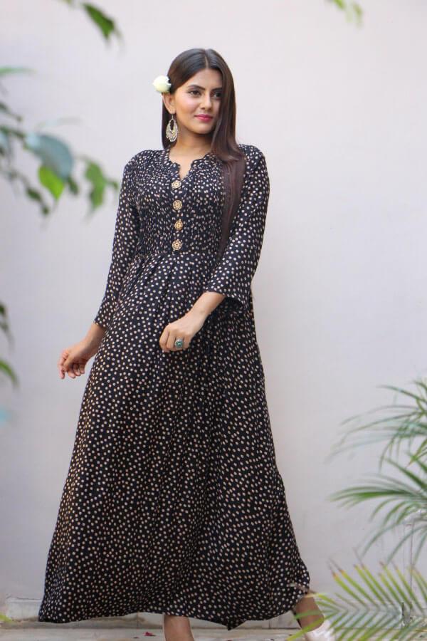 Black Printed Rayon Maxi Dress A304-(1)