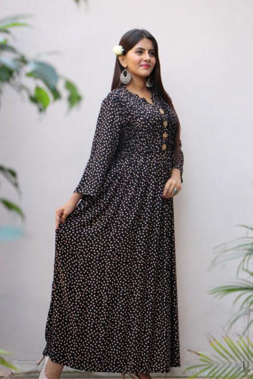Black Printed Rayon Maxi Dress A304-(2)