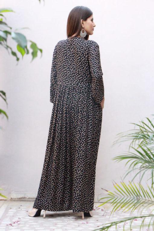 Black Printed Rayon Maxi Dress A304-(5)