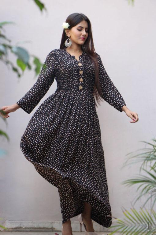 Black Printed Rayon Maxi Dress A304-(7)